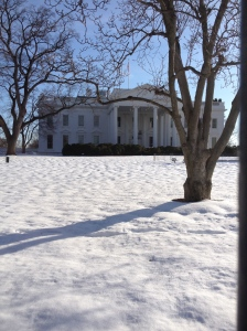 {Photo: the back of the White House in snow}