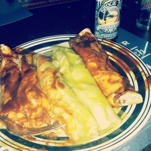 {photo: red and green  chile  vegetarian enchiladas}