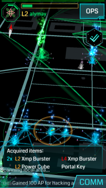 {Screenshot: a map of portals in an area. There is a long stretch of blue (read: enemy) portals  around the bottom and a few green (read: correct) portals in the top left corner}.