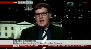 {Screenshot: Kelsey on the BBC, talking about why he's skeptical of Call of Duty predicting the future of war. Like a boss.}